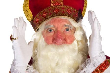 Portrait of the Dutch Sinterklaas isolated over white photo