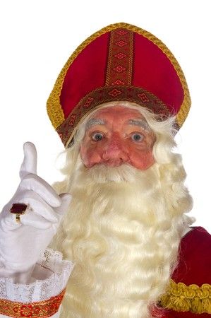 Portrait of the Dutch Sinterklaas isolated over white photo