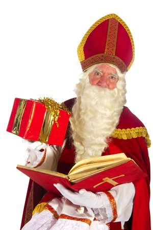Portrait of the Dutch Sinterklaas isolated over white Stock Photo - 7908216