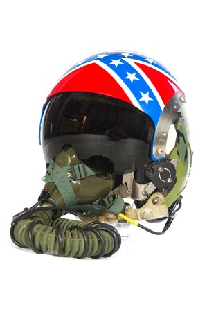 American aircraft helmet with flag symbols isolated over white photo