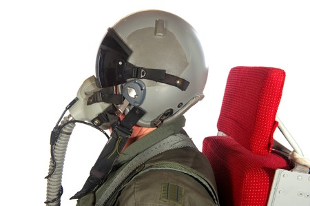 flight helmet: Crew American aircraft in full uniform isolated over white Stock Photo