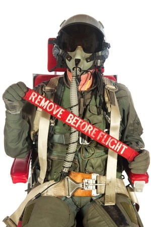 air force: Crew American aircraft with red remove before flight  Stock Photo