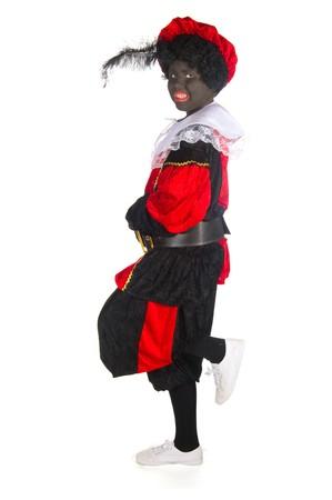 Black Piet is standing on one leg photo