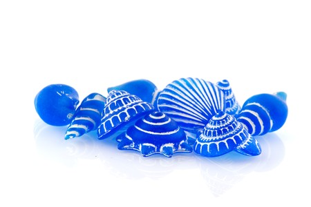 Several blue glass shells isolated over white Stock Photo - 7973478