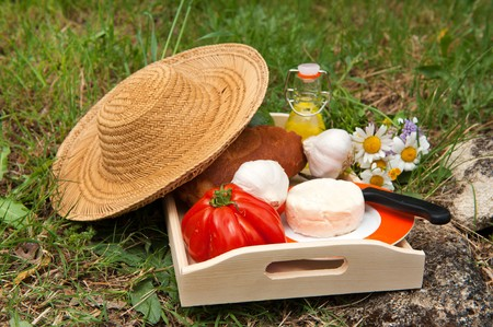 French bread and cheese with vegetables and oil outdoor Stock Photo - 7975101