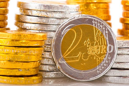 Lots of chocolate European money in silver and copper photo