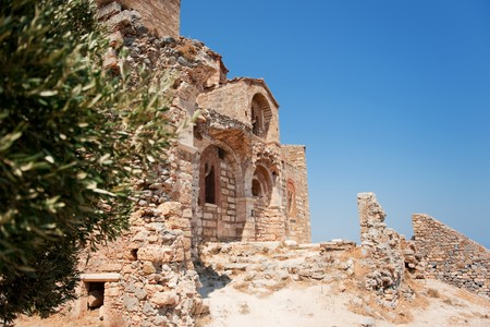 laconia: Detail of the church of Ayia Sophia in the upper town of Monemvasia