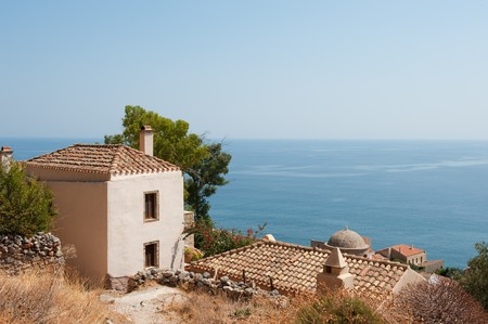laconia: downtown Monemvasia at the Greek Peloponnese with view at the sea