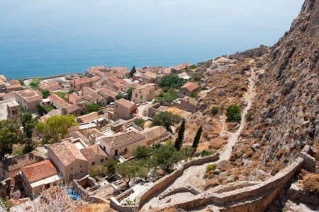 adjacent: View on downtown Monemvasia at the Greek Peloponnese