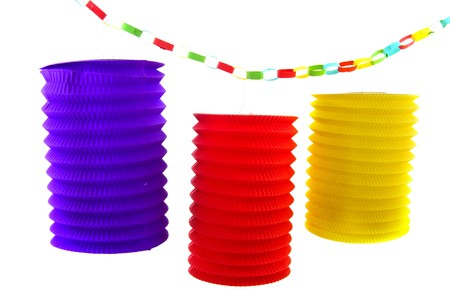 Paper chain and colorful Chinese lanterns isolated over white Stock Photo