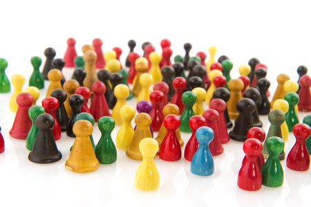 societies: Large group of people in many colors in abstract Stock Photo