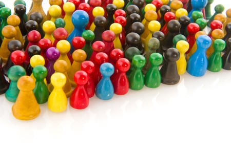Large group of people in many colors in abstract photo