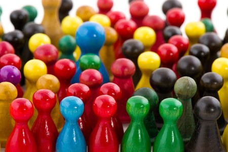 Large group of people in many colors in abstract Stock Photo - 7973658