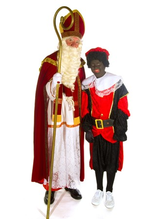 sinterklaas: Sinterklaas and Black posing Piet in the studio
