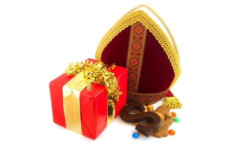 Miter from Dutch Sinterklaas with traditional candy Stock Photo - 7973581