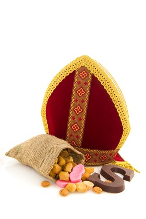 Miter from Dutch Sinterklaas with traditional candy Stock Photo - 7973609