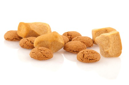 ginger nuts: Several Sinterklaas ginger nuts isolated over white