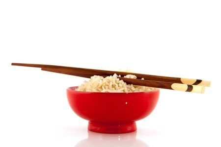 Japanese rice in black bowl with chop sticks Stock Photo - 8056141