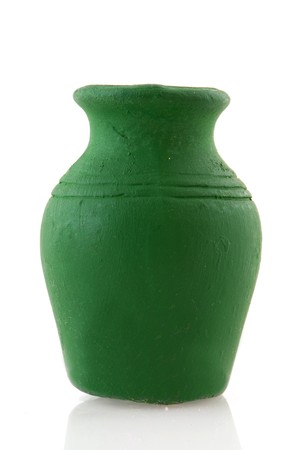 a jar stand: Single green pottery jar isolated over white