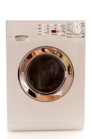 Waschmaschine für das Waschen von Textil- und Wäscheservice isolated over white