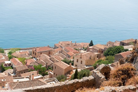 laconia: View on downtown Monemvasia at the Greek Peloponnese