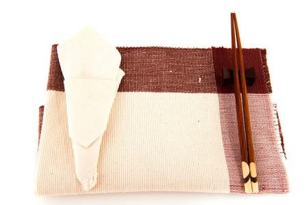 Serviette: tela de tabla con palos de servilleta y chuleta Foto de archivo