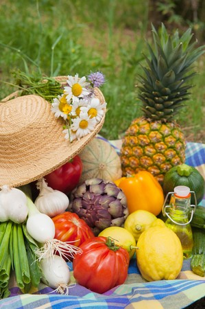 Fruit and vegetables in a rural still life outdoor Stock Photo - 8056257