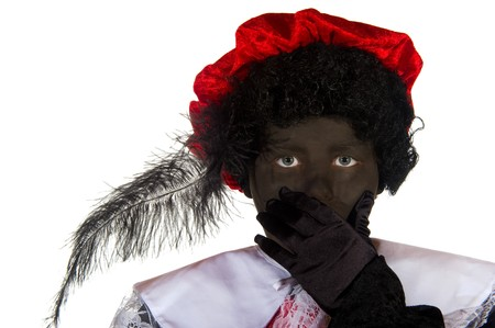 Portrait of Dutch Black Piet isolated over white photo