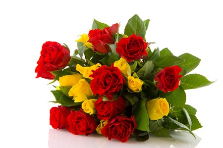 bunch of red roses: Bouquet red and yellow roses to give isolated over white Stock Photo