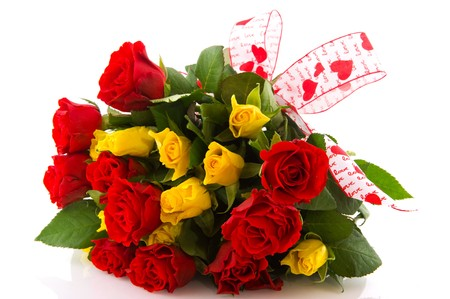 Bouquet red and yellow roses to give for love photo