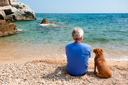 Elderly man with his dog at the summer beach photo