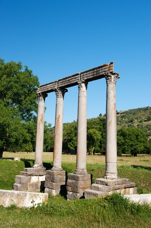 Roman temple in French village Riez at the haute Provence photo