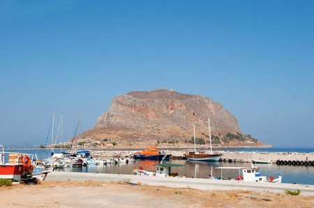 laconia: View on Monemvasia at the Greek Peloponnese