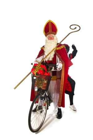 sinterklaas: Sinterklaas and Black Piet on the bike