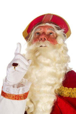Dutch traditional Sinterklaas pointing up portrait in the studio  Stock Photo - 8056488