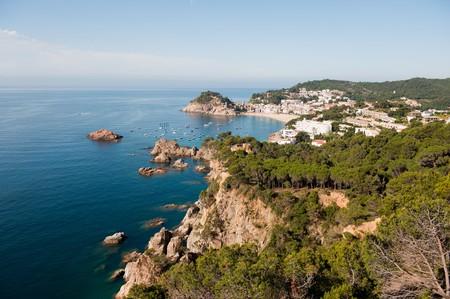 Spanish east coast with rocks and rough sea photo