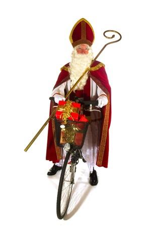 Dutch Sinterklaas on a bike in the studio photo