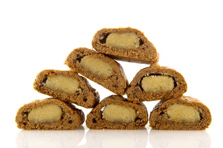 speculaas: Traditional Dutch Sinterklaas delicacy cut filled speculaas
