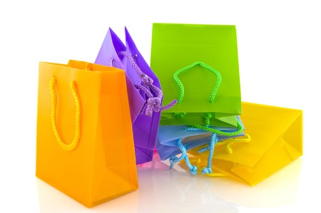 Colorful empty shopping bags isolated over white Stock Photo - 8233999
