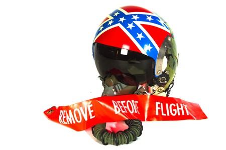flight helmet: American aircraft helmet with banner remove before flight Stock Photo