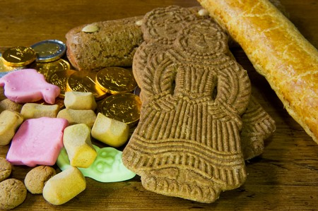 speculaas: Traditional Sinterklaas candy with pepernoten and speculaas Stock Photo