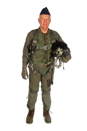 pilotos aviadores: Aviones de tripulaci�n estadounidenses en uniforme completo aislado sobre blanco Foto de archivo