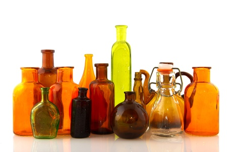 Several glass objects in a row isolated over white Stock Photo - 8315592