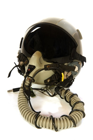 pilot cockpit: American aircraft helmet isolated over white