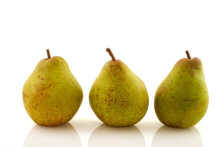 Fresh pear in the studio isolated over white photo