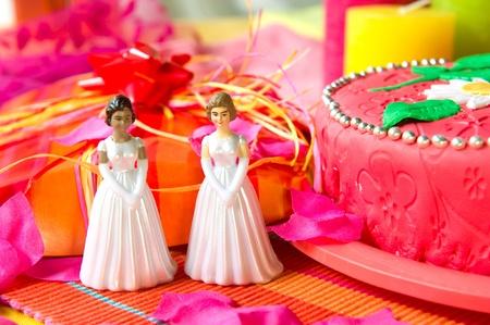 lesbienne: Wedding couple de lesbiennes en face d'un g�teau dans la vie encore rose