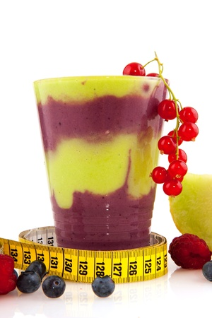 Healthy smoothy with fresh fruit and measure tool photo