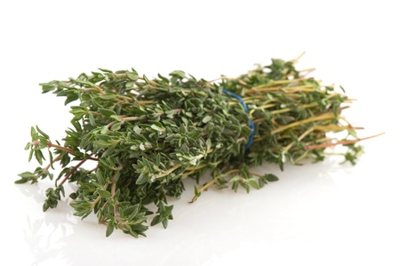 bounded: Bunch of fresh Thyme isolated over white Stock Photo