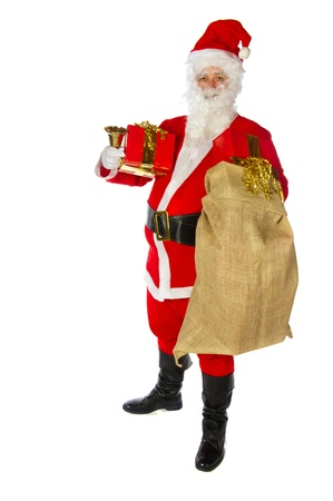 Luxury red gift from Santa Claus with christmas photo
