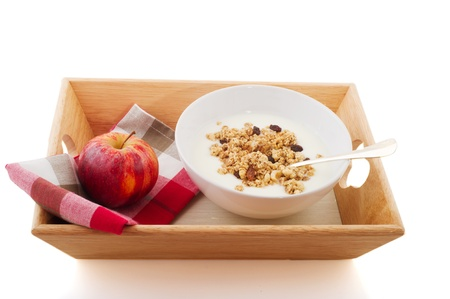 diet breakfast with yogurt and a red apple Stock Photo - 8552053